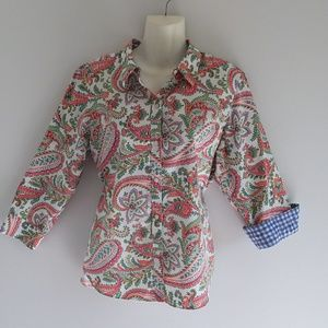 Chaps Paisley Print Cotton Shirt w/ Gingham Cuffs